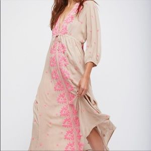Free People Embroidered Fable Dress Pink Tan small